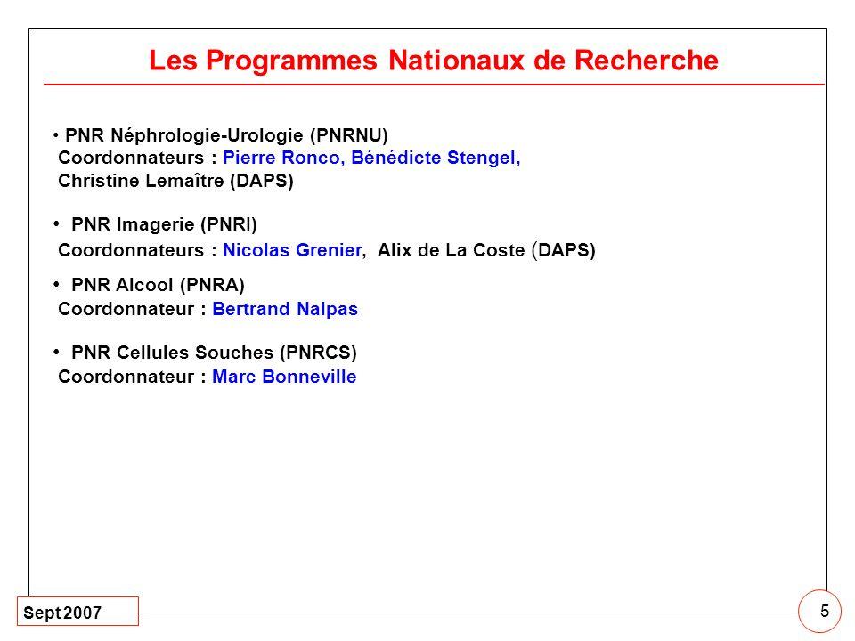 Sept 2007 5 Les Programmes Nationaux de Recherche PNR Néphrologie-Urologie (PNRNU) Coordonnateurs : Pierre Ronco, Bénédicte Stengel, Christine Lemaîtr