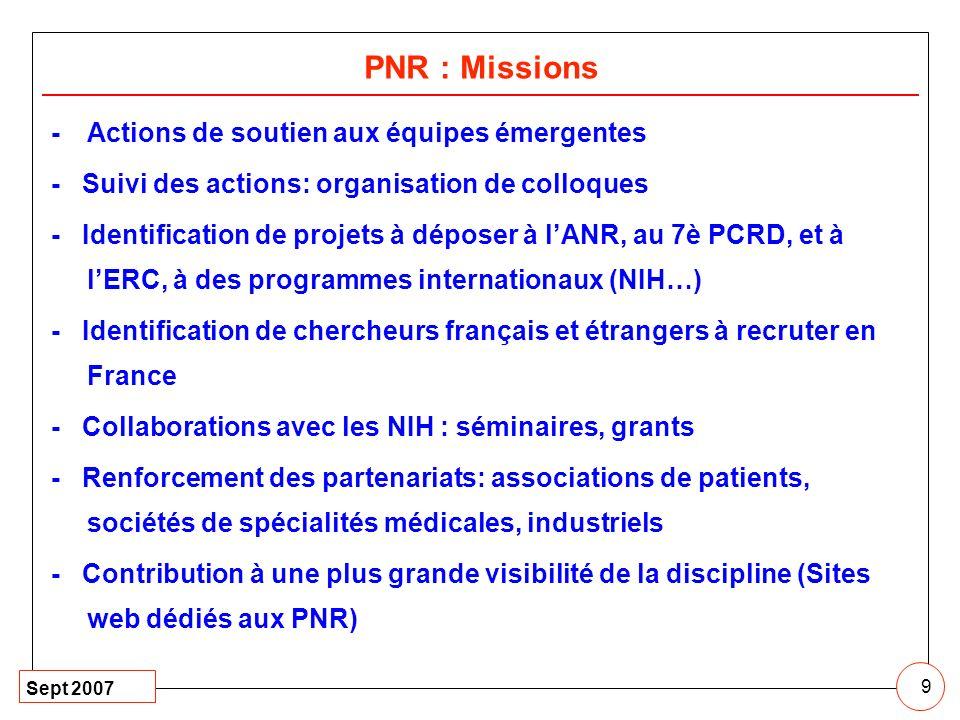 Sept 2007 9 PNR : Missions -Actions de soutien aux équipes émergentes - Suivi des actions: organisation de colloques - Identification de projets à dép