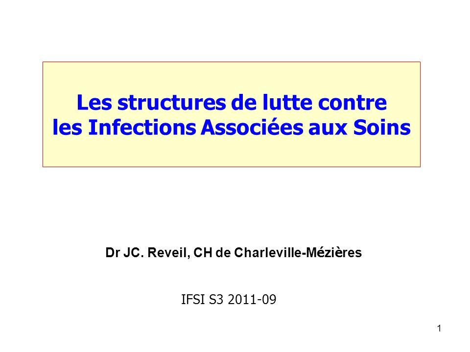 1 Les structures de lutte contre les Infections Associées aux Soins Dr JC. Reveil, CH de Charleville-M é zi è res IFSI S3 2011-09