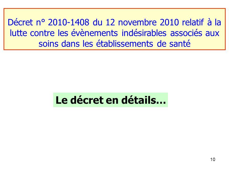 10 Décret n° 2010-1408 du 12 novembre 2010 relatif à la lutte contre les évènements indésirables associés aux soins dans les établissements de santé L