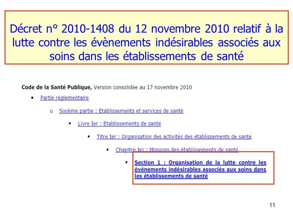 11 Décret n° 2010-1408 du 12 novembre 2010 relatif à la lutte contre les évènements indésirables associés aux soins dans les établissements de santé