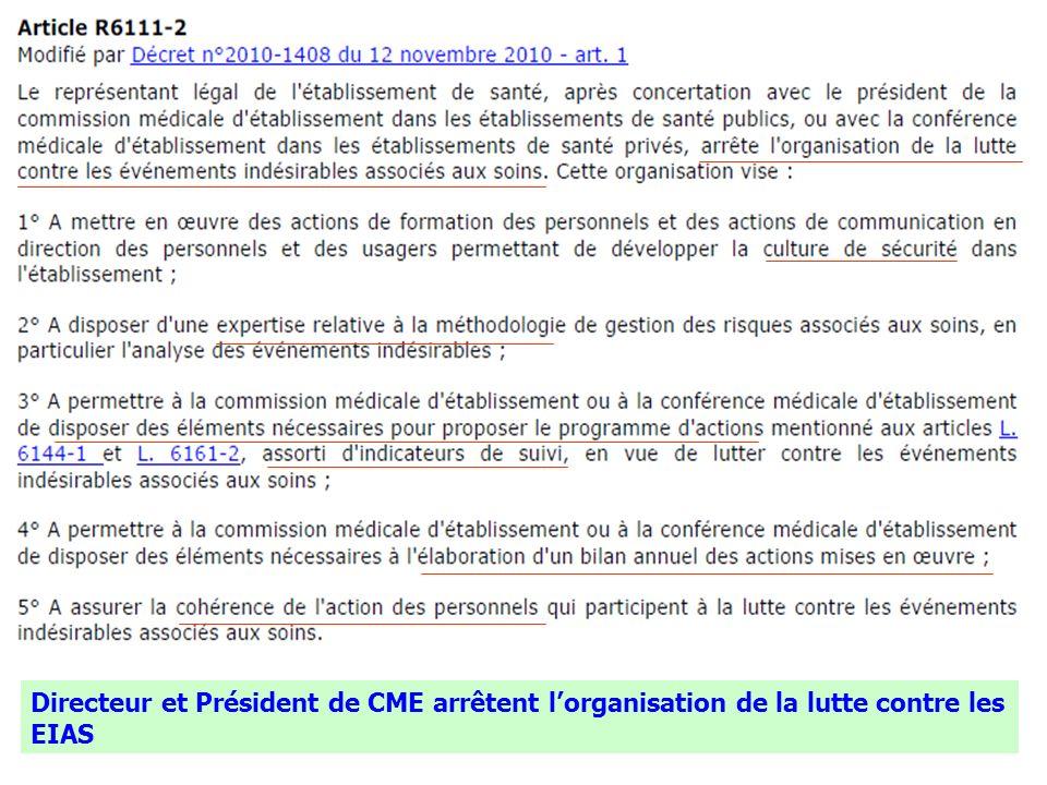 13 Directeur et Président de CME arrêtent lorganisation de la lutte contre les EIAS