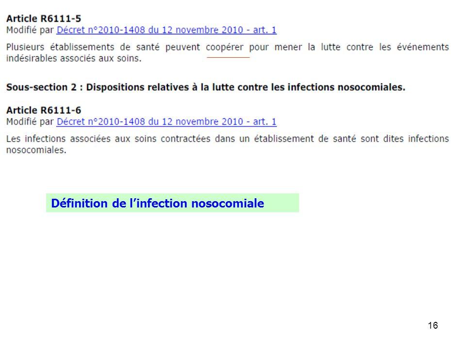 16 Définition de linfection nosocomiale