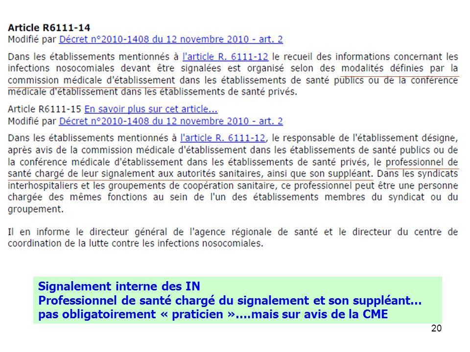 20 Signalement interne des IN Professionnel de santé chargé du signalement et son suppléant… pas obligatoirement « praticien »….mais sur avis de la CM