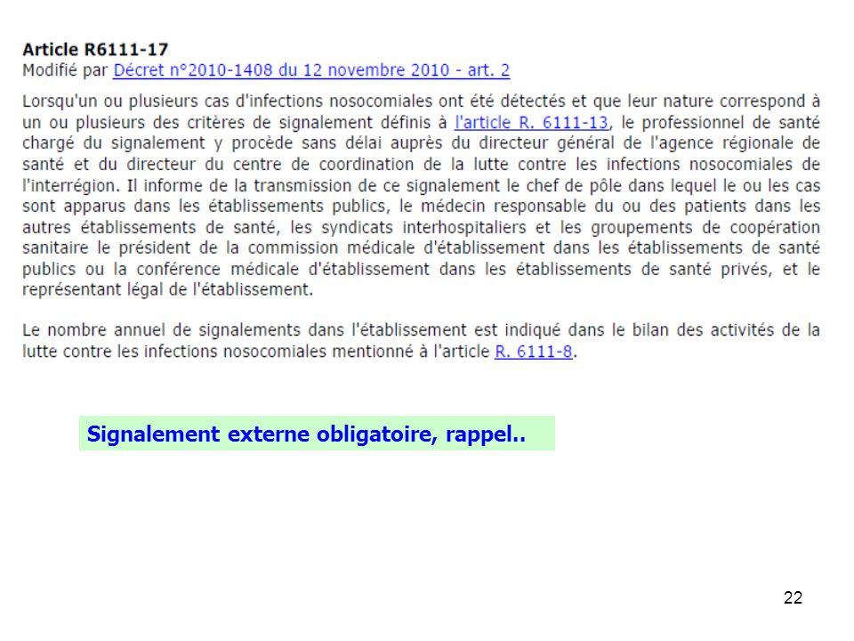 22 Signalement externe obligatoire, rappel..