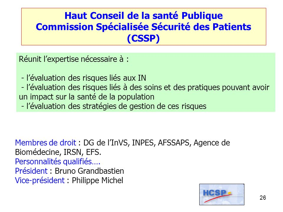 26 Haut Conseil de la santé Publique Commission Spécialisée Sécurité des Patients (CSSP) Réunit lexpertise nécessaire à : - lévaluation des risques li