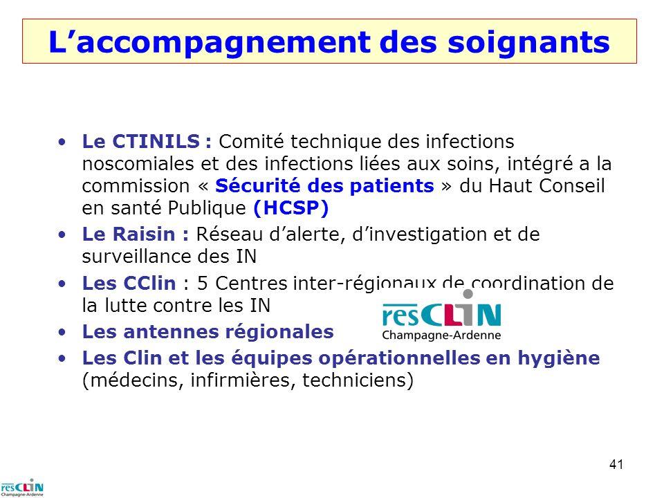 41 Laccompagnement des soignants Le CTINILS : Comité technique des infections noscomiales et des infections liées aux soins, intégré a la commission «