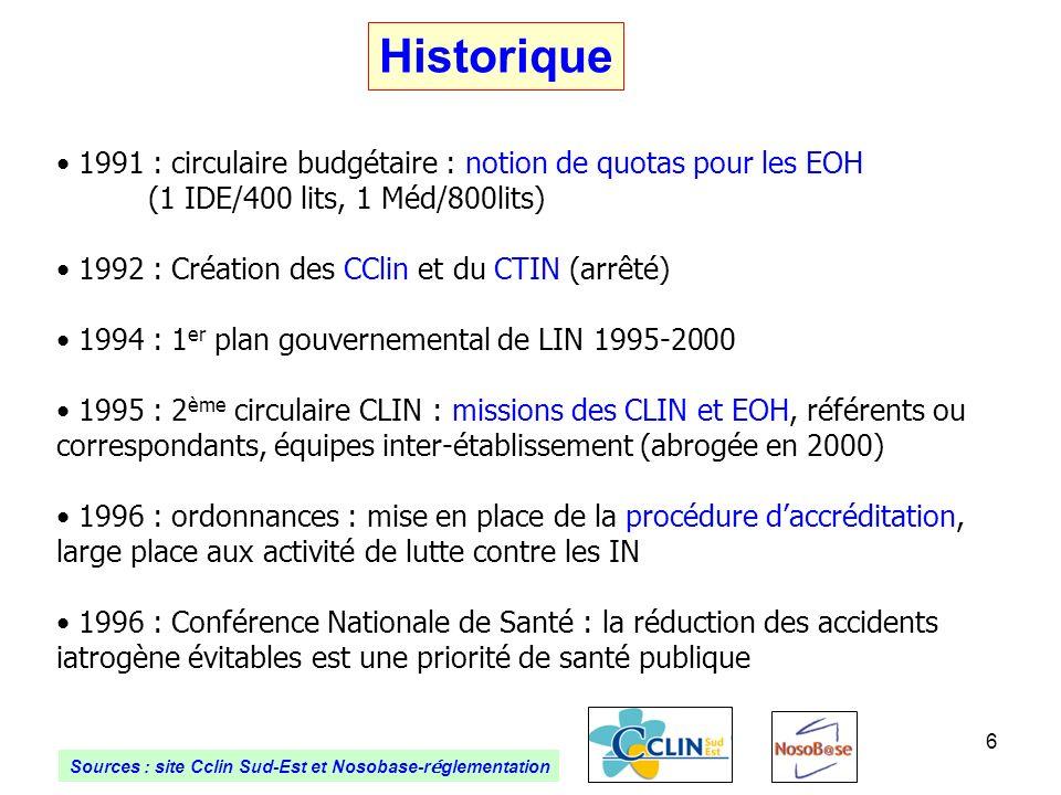 6 Historique 1991 : circulaire budgétaire : notion de quotas pour les EOH (1 IDE/400 lits, 1 Méd/800lits) 1992 : Création des CClin et du CTIN (arrêté