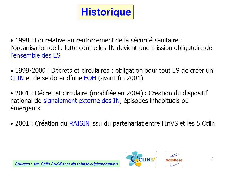 7 Historique 1998 : Loi relative au renforcement de la sécurité sanitaire : lorganisation de la lutte contre les IN devient une mission obligatoire de