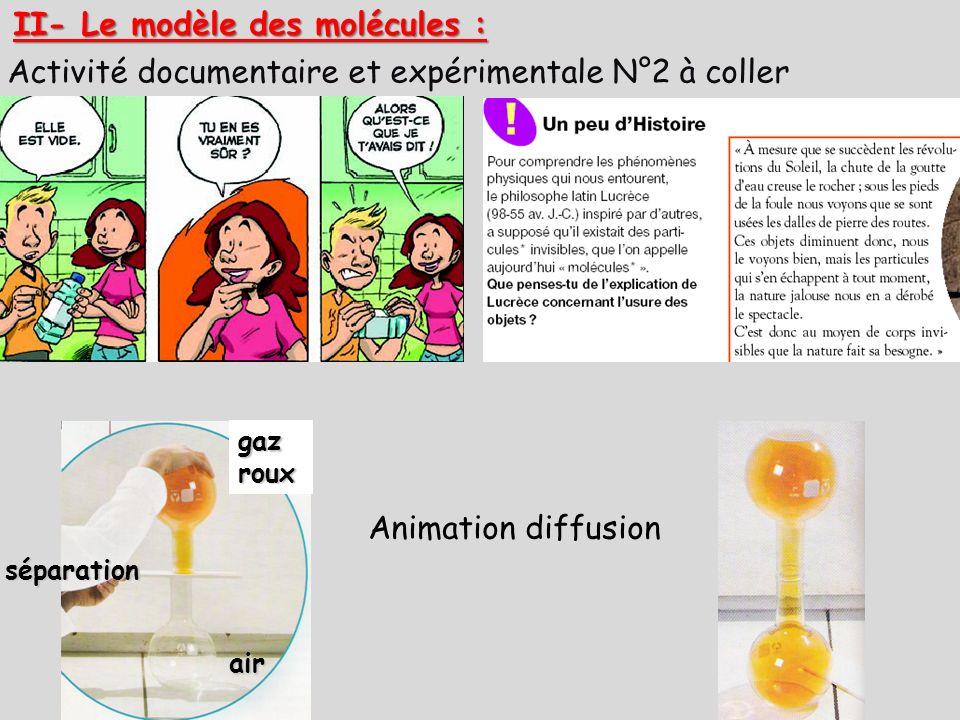 Activité documentaire et expérimentale N°2 à coller II- Le modèle des molécules : Animation diffusionséparation gaz roux air