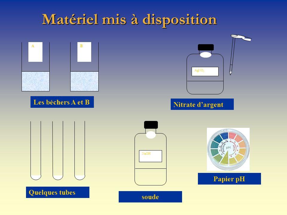 Matériel mis à disposition AB AgNO 3 NaOH Les béchers A et B Nitrate dargent Quelques tubes soude Papier pH