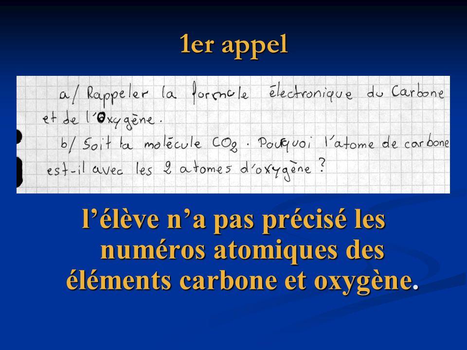 1er appel lélève na pas précisé les numéros atomiques des éléments carbone et oxygène.