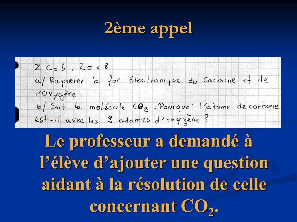 2ème appel Le professeur a demandé à lélève dajouter une question aidant à la résolution de celle concernant CO 2.