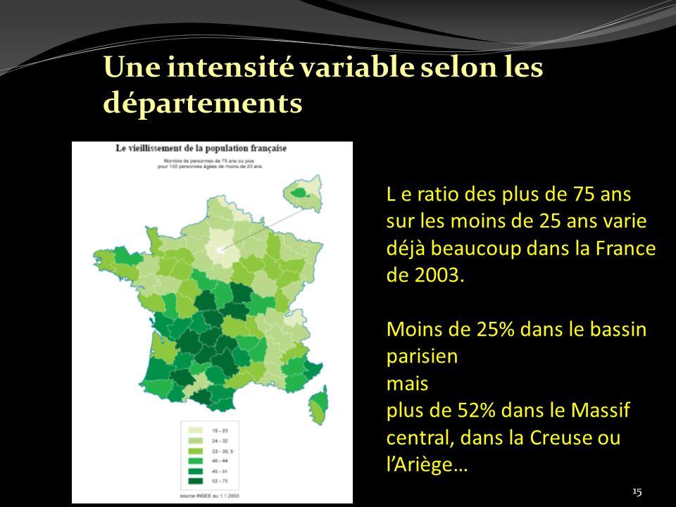 L e ratio des plus de 75 ans sur les moins de 25 ans varie déjà beaucoup dans la France de 2003. Moins de 25% dans le bassin parisien mais plus de 52%