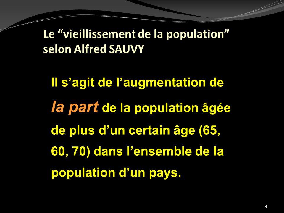 4 Le vieillissement de la population selon Alfred SAUVY Il sagit de laugmentation de la part de la population âgée de plus dun certain âge (65, 60, 70