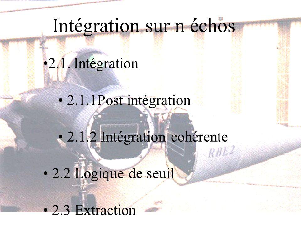 2.1. Intégration 2.1.1Post intégration 2.1.2 Intégration cohérente 2.2 Logique de seuil 2.3 Extraction
