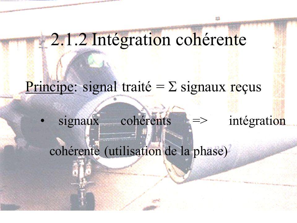 2.1.2 Intégration cohérente Principe: signal traité = signaux reçus signaux cohérents => intégration cohérente (utilisation de la phase)