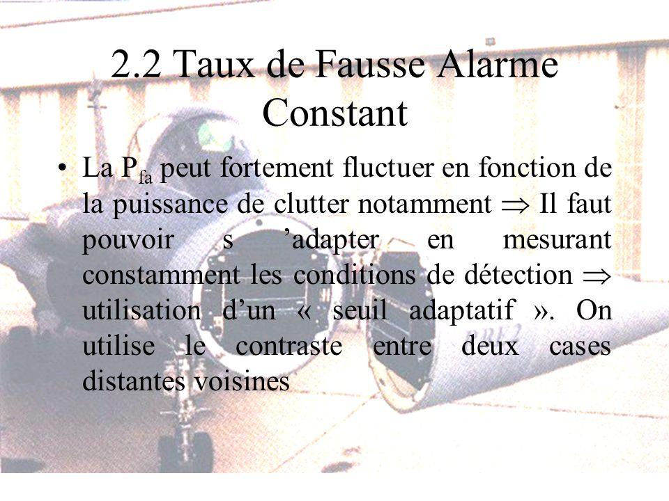 2.2 Taux de Fausse Alarme Constant La P fa peut fortement fluctuer en fonction de la puissance de clutter notamment Il faut pouvoir s adapter en mesur