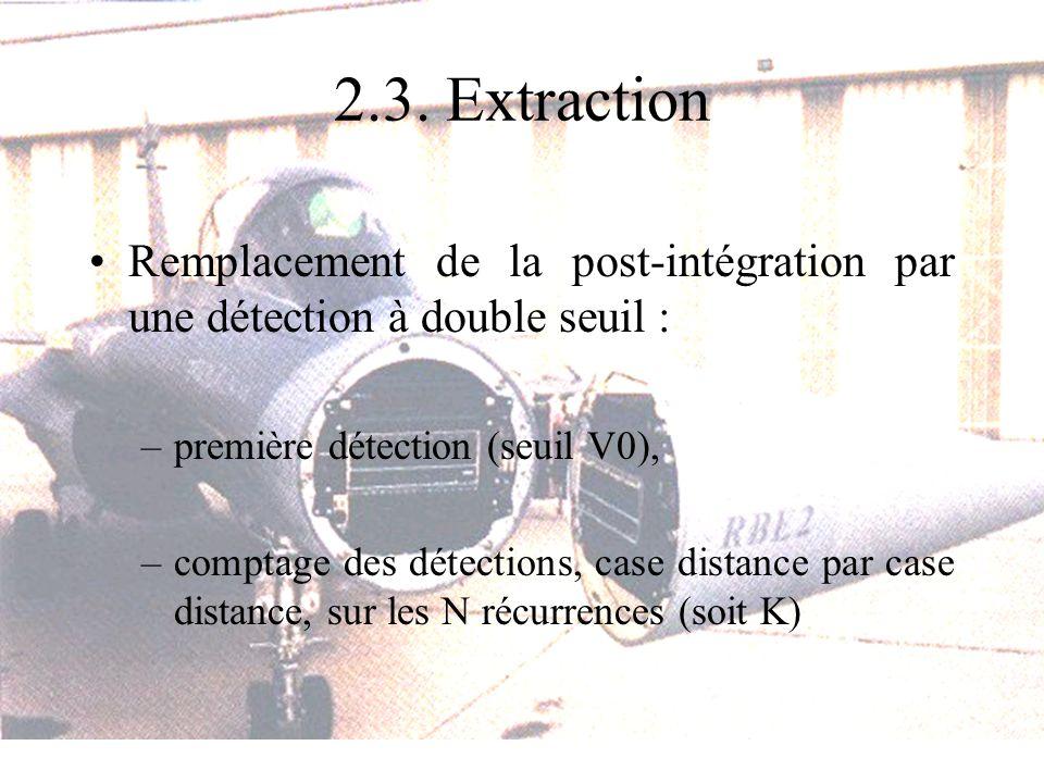 2.3. Extraction Remplacement de la post-intégration par une détection à double seuil : –première détection (seuil V0), –comptage des détections, case