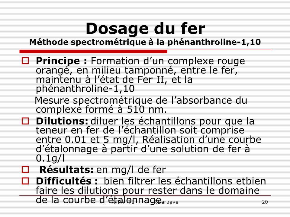 AFPA TTE P.Deraeve20 Dosage du fer Méthode spectrométrique à la phénanthroline-1,10 Principe : Formation dun complexe rouge orangé, en milieu tamponné