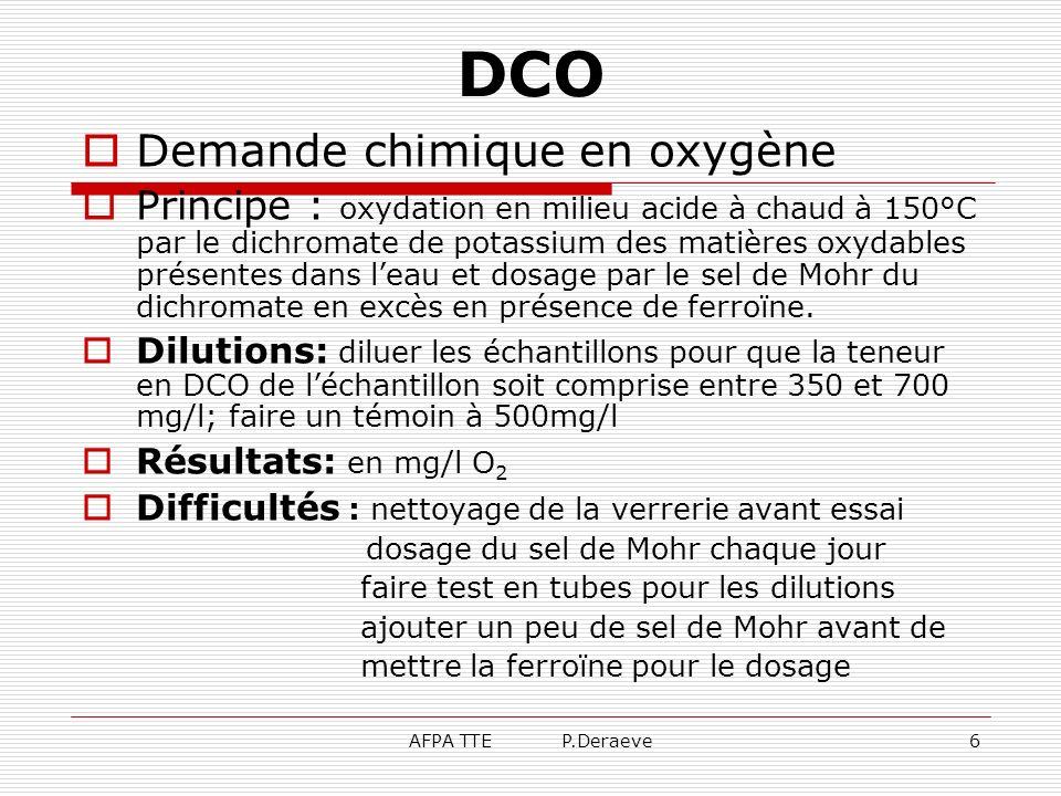AFPA TTE P.Deraeve6 DCO Demande chimique en oxygène Principe : oxydation en milieu acide à chaud à 150°C par le dichromate de potassium des matières o