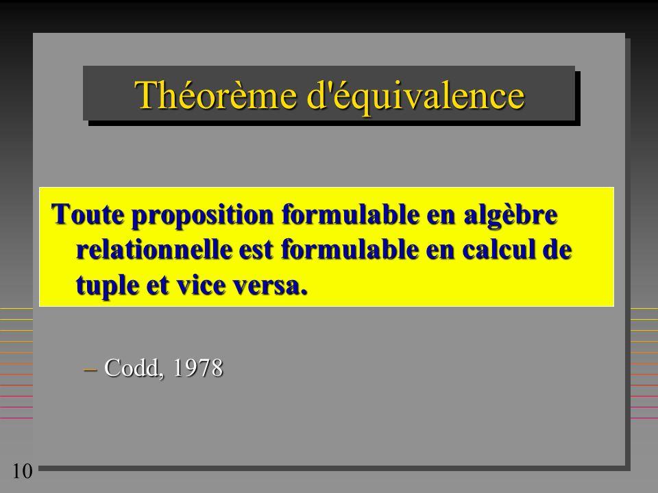 10 Théorème d'équivalence Toute proposition formulable en algèbre relationnelle est formulable en calcul de tuple et vice versa. –Codd, 1978