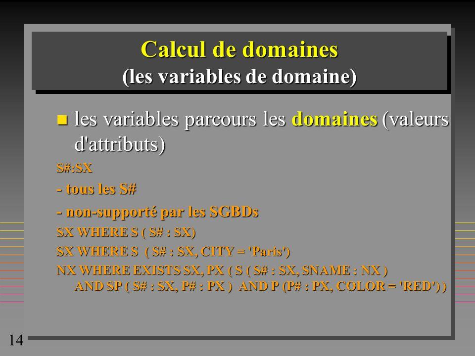 14 Calcul de domaines (les variables de domaine) n les variables parcours les domaines (valeurs d'attributs) S#:SX - tous les S# - non-supporté par le