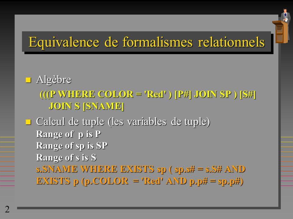 3 Calcul de tuple: variables n Variables: –x, y, z parcourent les relations »les relations sont définies par la déclaration Range »l ordre de parcours n est pas défini –les valeurs sont les tuples correspondants Range of s is S s = (s.s#, s.sname, s.status, s.city) s = ( 123 , dupont, 100, Paris)