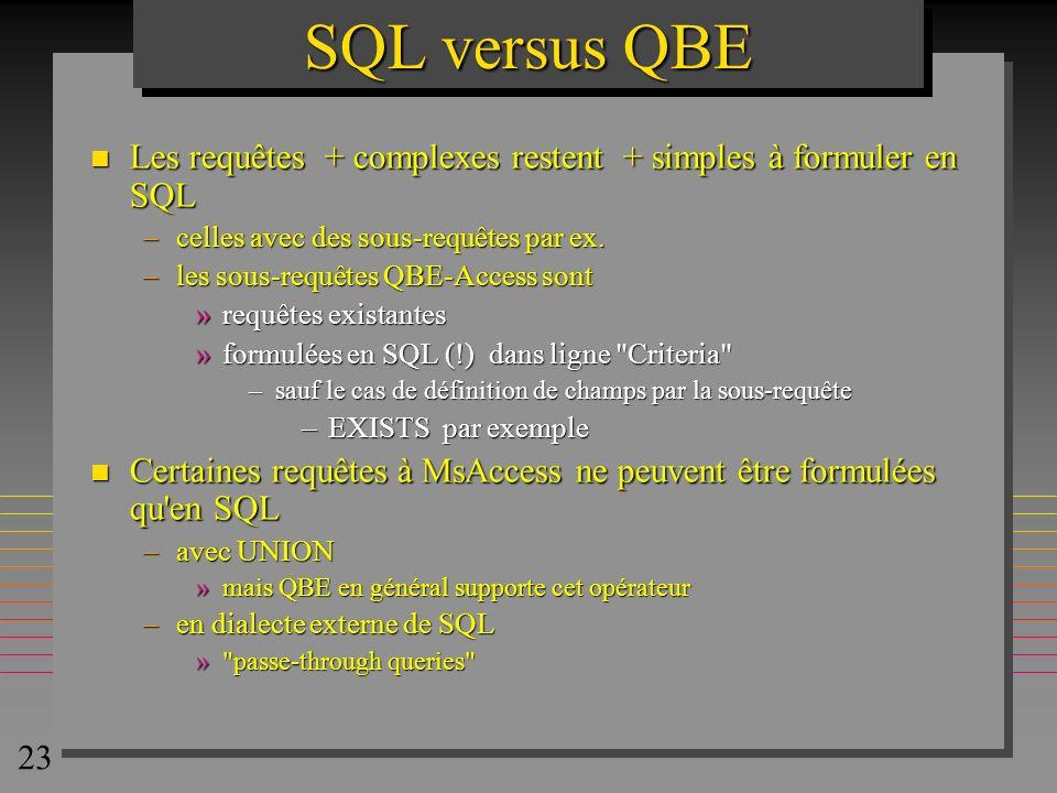 23 SQL versus QBE n Les requêtes + complexes restent + simples à formuler en SQL –celles avec des sous-requêtes par ex. –les sous-requêtes QBE-Access