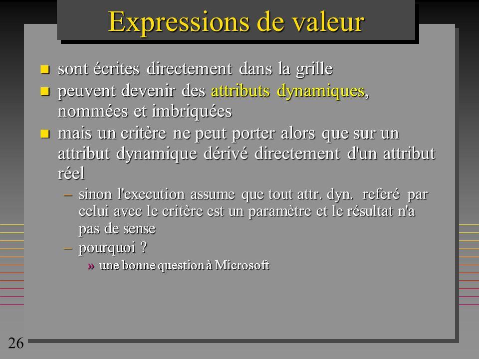 26 Expressions de valeur n sont écrites directement dans la grille n peuvent devenir des attributs dynamiques, nommées et imbriquées n mais un critère