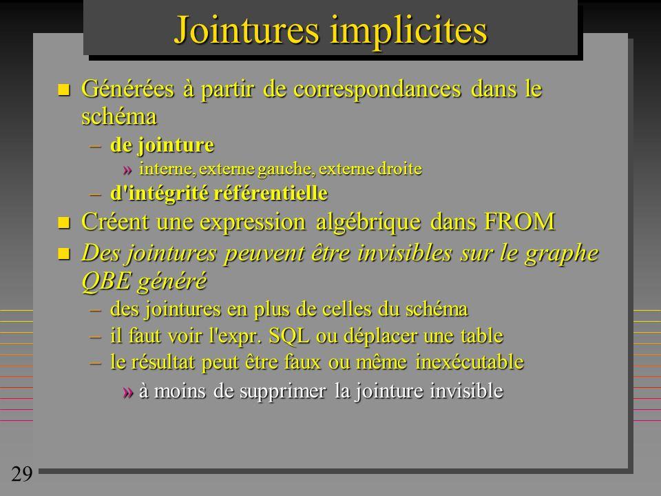 29 Jointures implicites n Générées à partir de correspondances dans le schéma –de jointure »interne, externe gauche, externe droite –d'intégrité référ