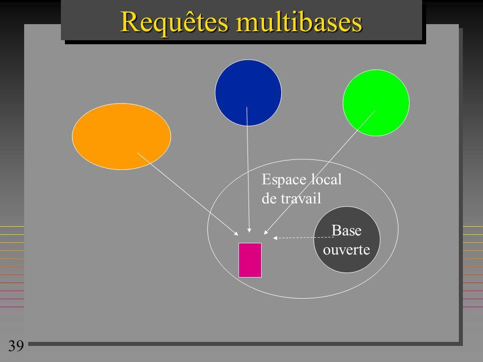 39 Requêtes multibases Base ouverte Espace local de travail