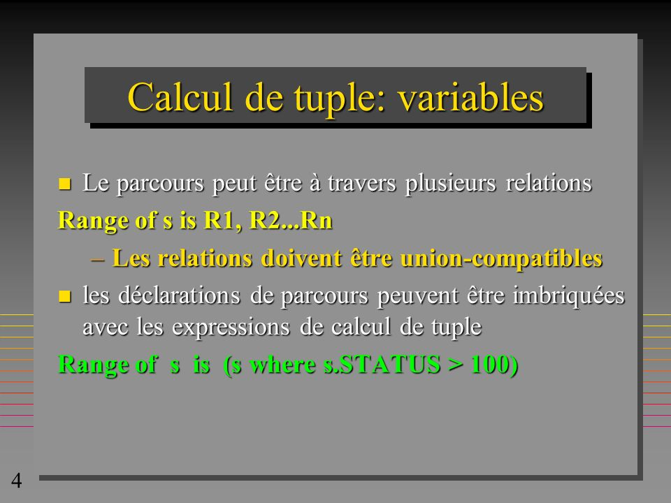 25 SELECT P_1.* FROM p AS P_1 WHERE not exists (select * from P as py where py.color = blue and py.weight >= p_1.weight ); la suite est visible avec la touche le zoom