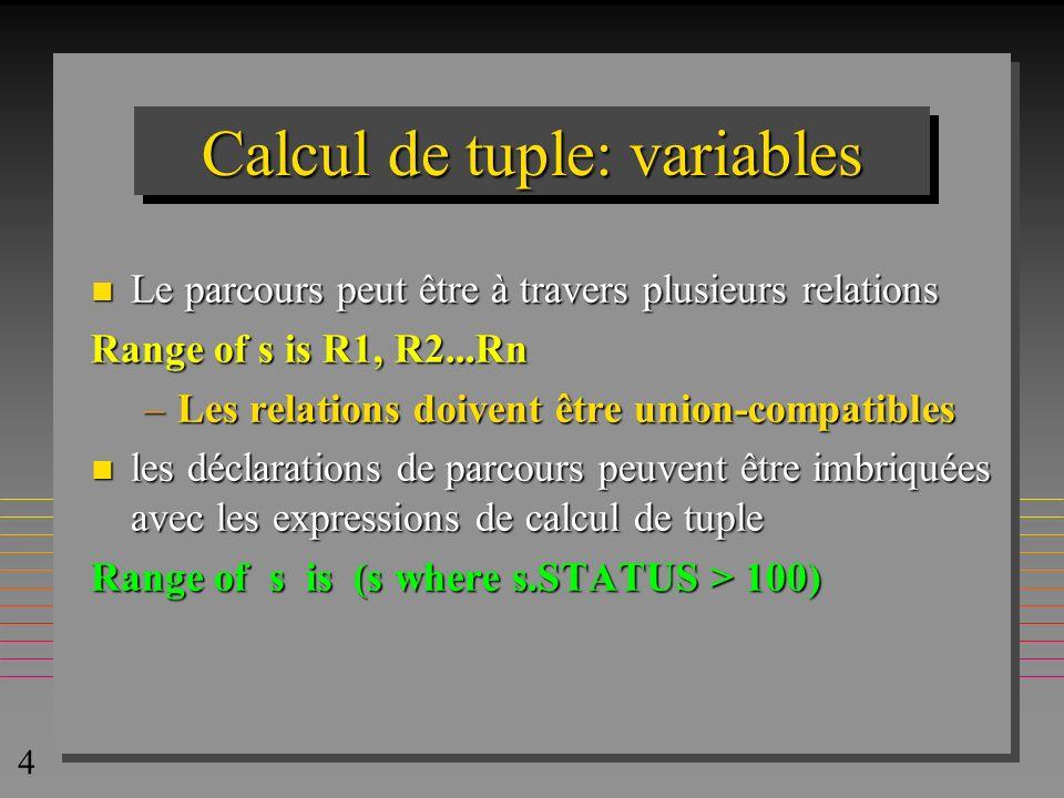 5 Calcul de tuple n Le résultat d une formule f est défini par la liste- cible qui est une relation aussi: (s.s#, s.sname) where f(s) est une relation avec toutes les valeurs possibles où f(s) =.vrai Range of s is S Range of sp is SP (s.sname, sp.p#) where f(s,sp) Range of S is S Range of X is S (name = S.sname, X.sname) where f(S,X)