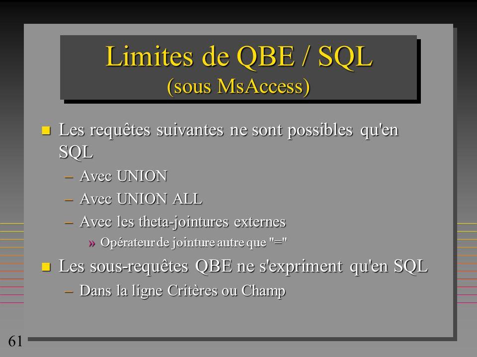61 Limites de QBE / SQL (sous MsAccess) n Les requêtes suivantes ne sont possibles qu'en SQL –Avec UNION –Avec UNION ALL –Avec les theta-jointures ext