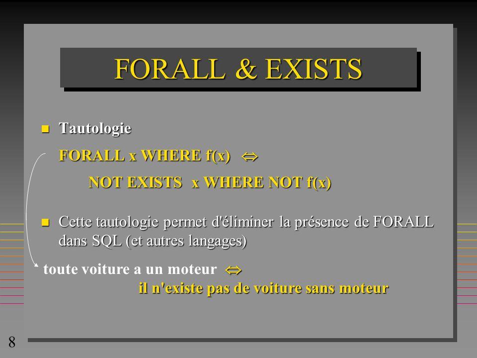 8 FORALL & EXISTS n Tautologie FORALL x WHERE f(x) FORALL x WHERE f(x) NOT EXISTS x WHERE NOT f(x) n Cette tautologie permet d'éliminer la présence de