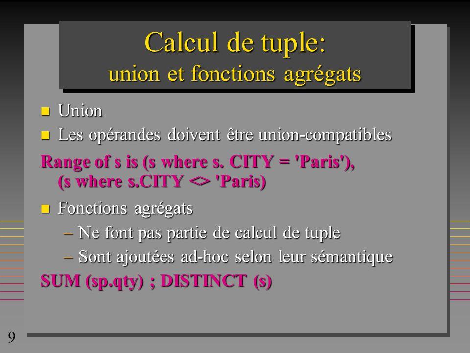 9 Calcul de tuple: union et fonctions agrégats n Union n Les opérandes doivent être union-compatibles Range of s is (s where s. CITY = 'Paris'), (s wh