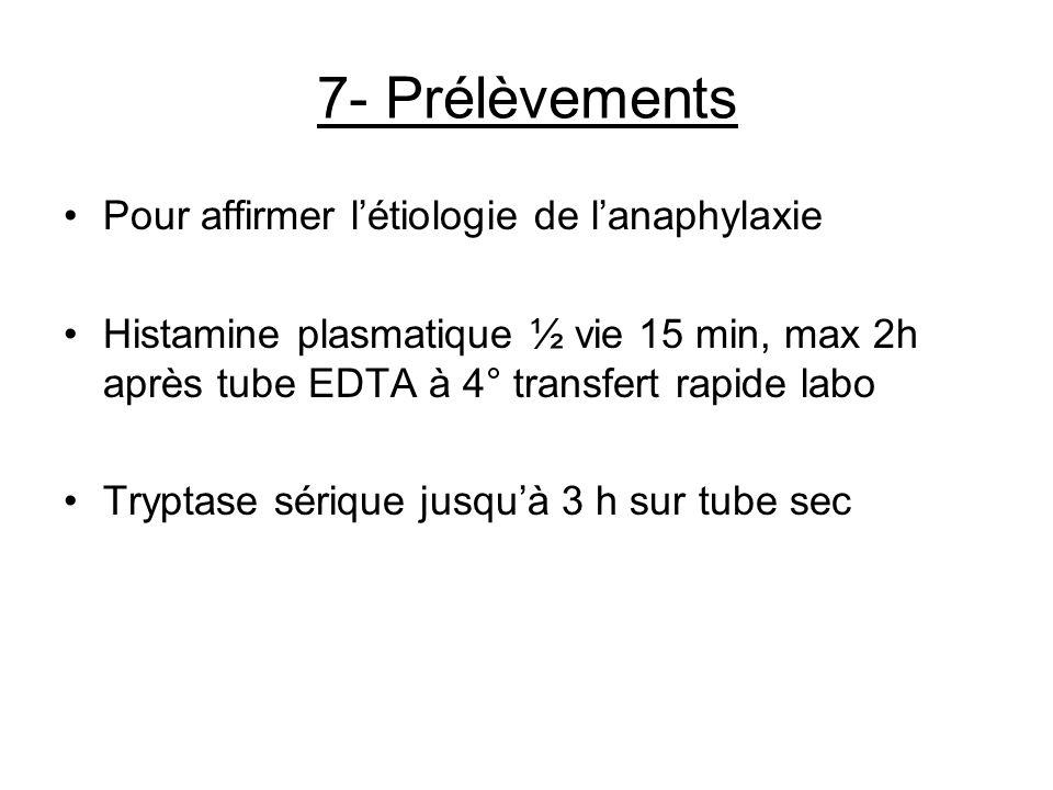 7- Prélèvements Pour affirmer létiologie de lanaphylaxie Histamine plasmatique ½ vie 15 min, max 2h après tube EDTA à 4° transfert rapide labo Tryptas