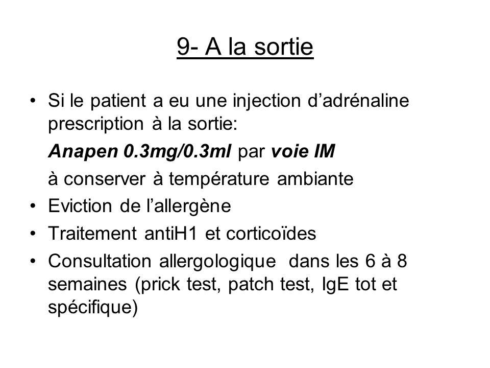 9- A la sortie Si le patient a eu une injection dadrénaline prescription à la sortie: Anapen 0.3mg/0.3ml par voie IM à conserver à température ambiant