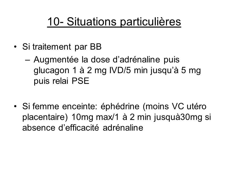 10- Situations particulières Si traitement par BB –Augmentée la dose dadrénaline puis glucagon 1 à 2 mg IVD/5 min jusquà 5 mg puis relai PSE Si femme