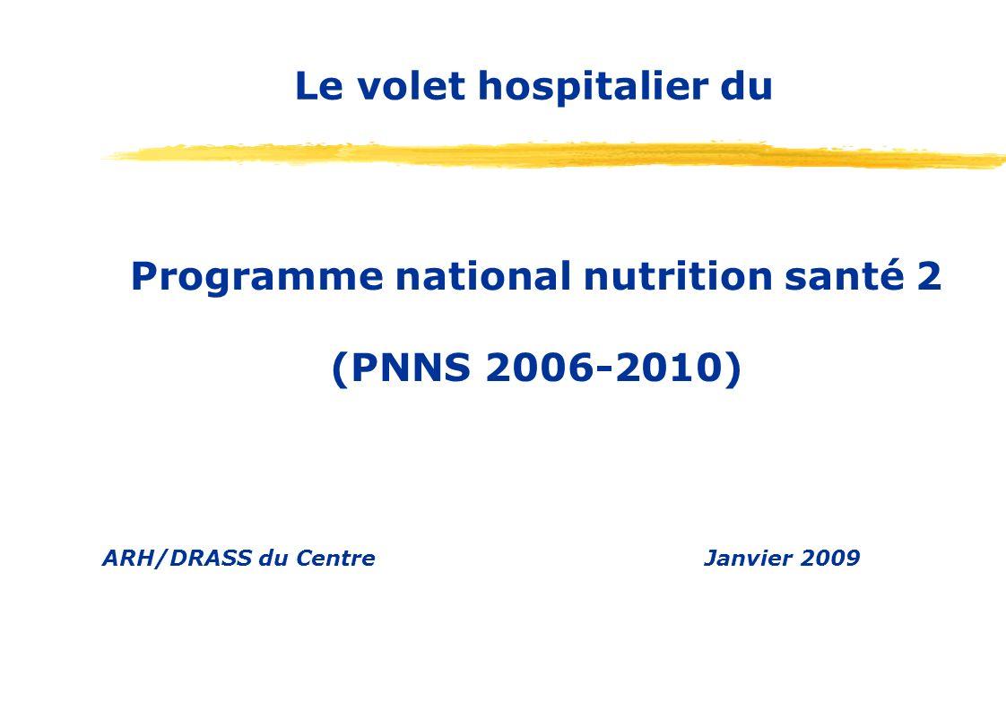 Programme national nutrition santé 2 (PNNS 2006-2010) ARH/DRASS du CentreJanvier 2009 Le volet hospitalier du