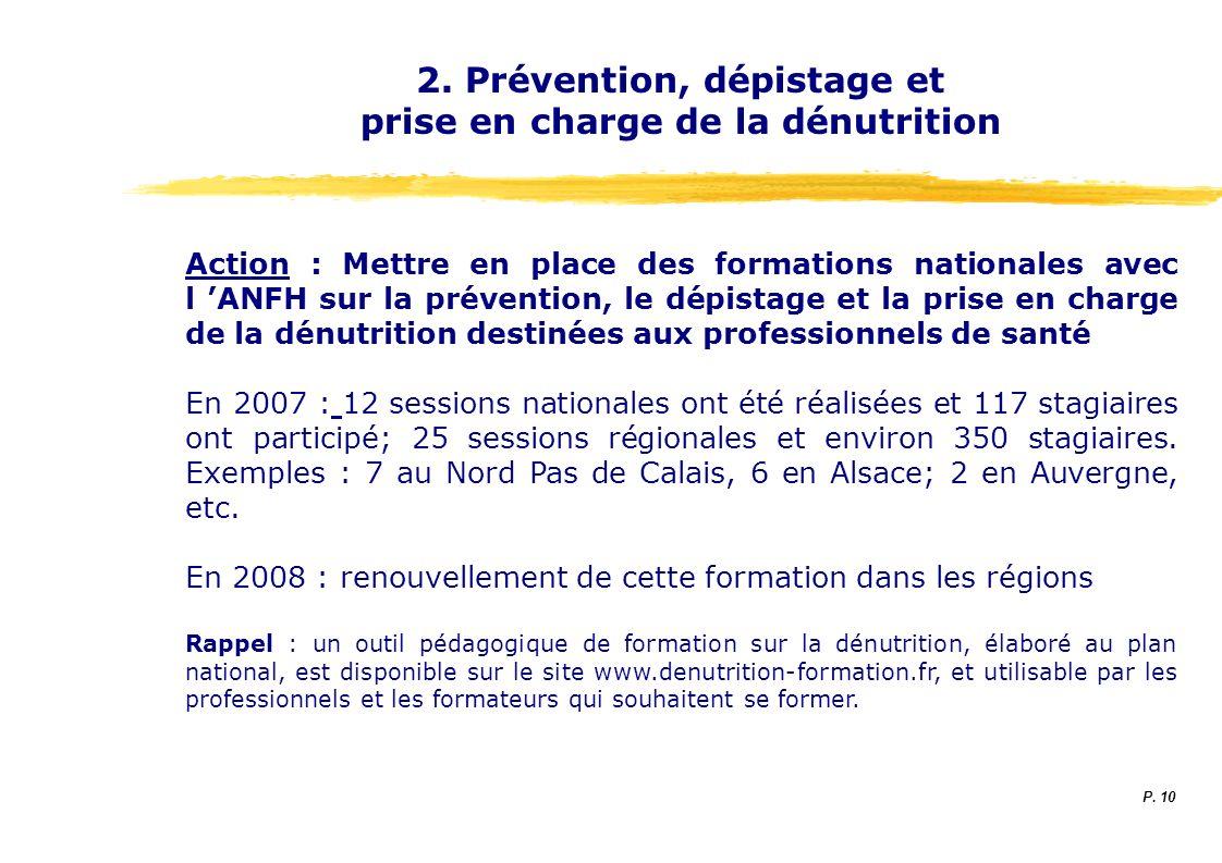 2. Prévention, dépistage et prise en charge de la dénutrition Action : Mettre en place des formations nationales avec l ANFH sur la prévention, le dép