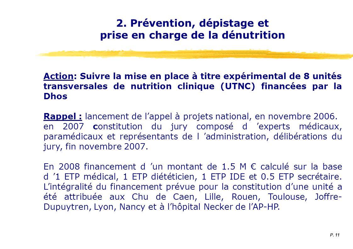 2. Prévention, dépistage et prise en charge de la dénutrition Action: Suivre la mise en place à titre expérimental de 8 unités transversales de nutrit