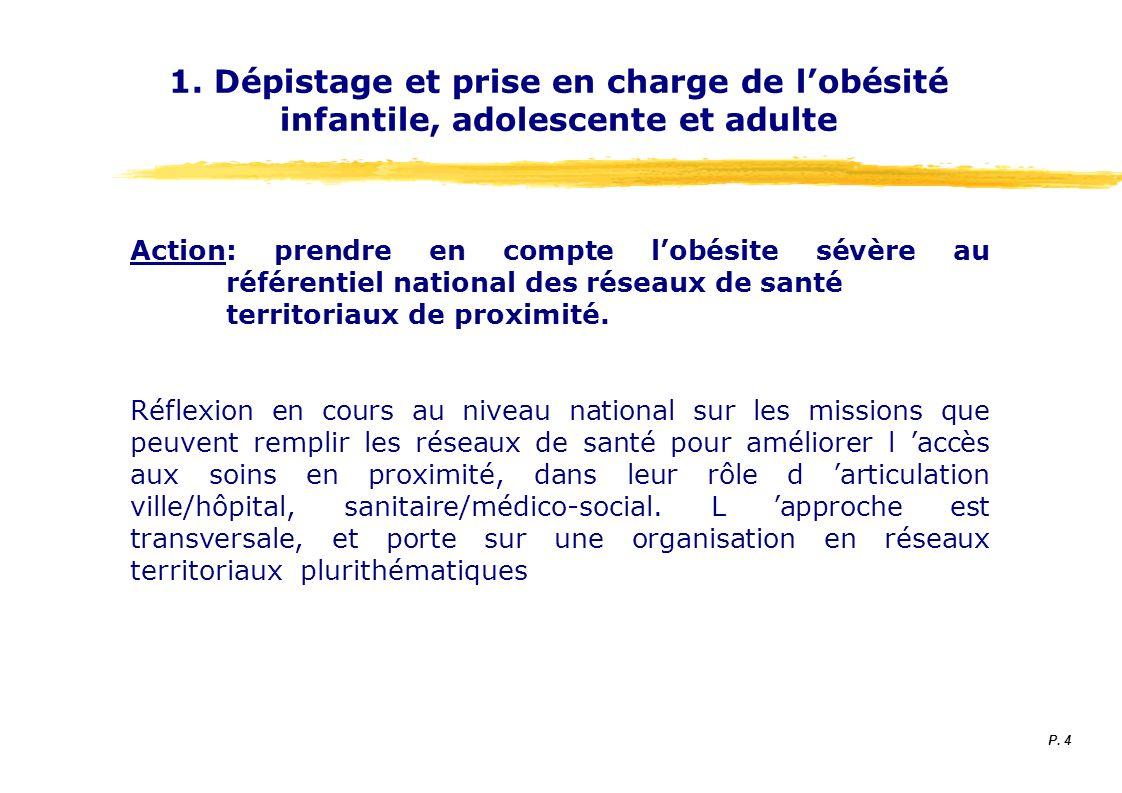 1. Dépistage et prise en charge de lobésité infantile, adolescente et adulte Action: prendre en compte lobésite sévère au référentiel national des rés