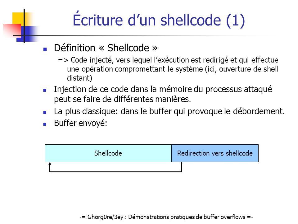 -= Ghorg0re/3ey : Démonstrations pratiques de buffer overflows =- Écriture dun shellcode (1) Définition « Shellcode » => Code injecté, vers lequel lex