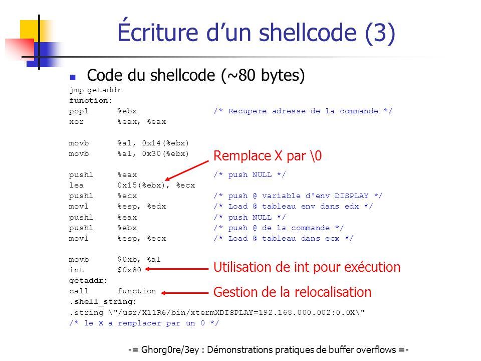 -= Ghorg0re/3ey : Démonstrations pratiques de buffer overflows =- Écriture dun shellcode (3) Code du shellcode (~80 bytes) jmpgetaddr function: popl%e