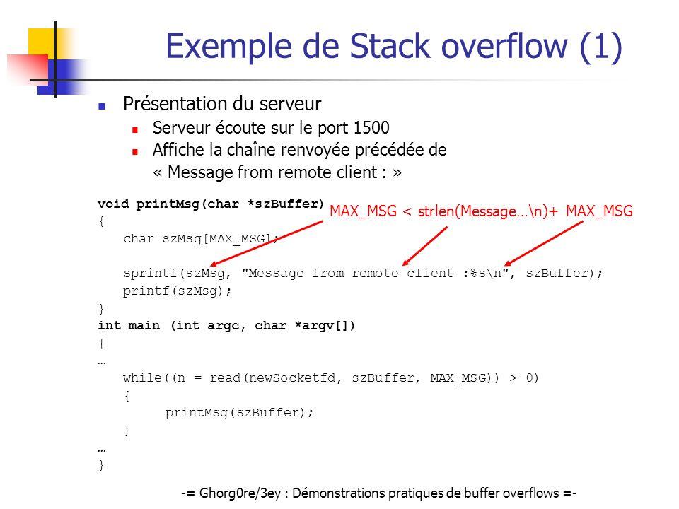 -= Ghorg0re/3ey : Démonstrations pratiques de buffer overflows =- Exemple de Stack overflow (1) Présentation du serveur Serveur écoute sur le port 150