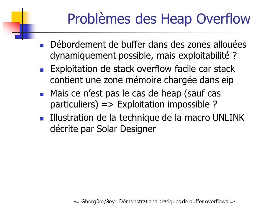 -= Ghorg0re/3ey : Démonstrations pratiques de buffer overflows =- Problèmes des Heap Overflow Débordement de buffer dans des zones allouées dynamiquem