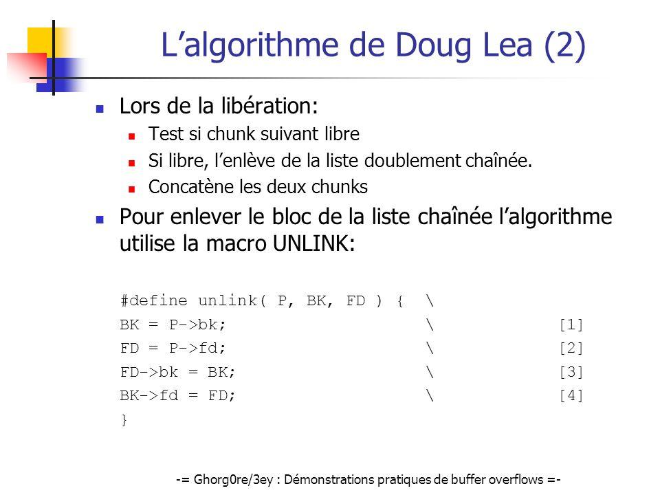 -= Ghorg0re/3ey : Démonstrations pratiques de buffer overflows =- Lalgorithme de Doug Lea (2) Lors de la libération: Test si chunk suivant libre Si li