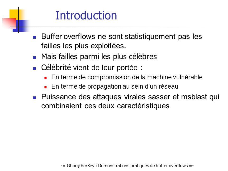 -= Ghorg0re/3ey : Démonstrations pratiques de buffer overflows =- Exemple de Heap Overflow (3) En mémoire: @ table virtuelle szUser @ table virtuelle pConnexion pLogData szData SHELLCODE @szData Exploitation en deux temps: Envoi dun faux user pour constituer @szData Ecrasement de la VTABLES de pLogData avec @szUser
